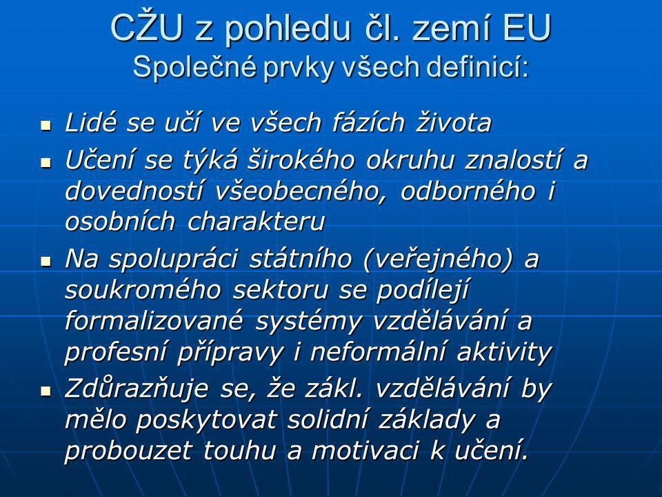 CŽU z pohledu čl. zemí EU Společné prvky všech definicí:  Lidé se učí ve všech fázích života  Učení se týká širokého okruhu znalostí a dovedností vš