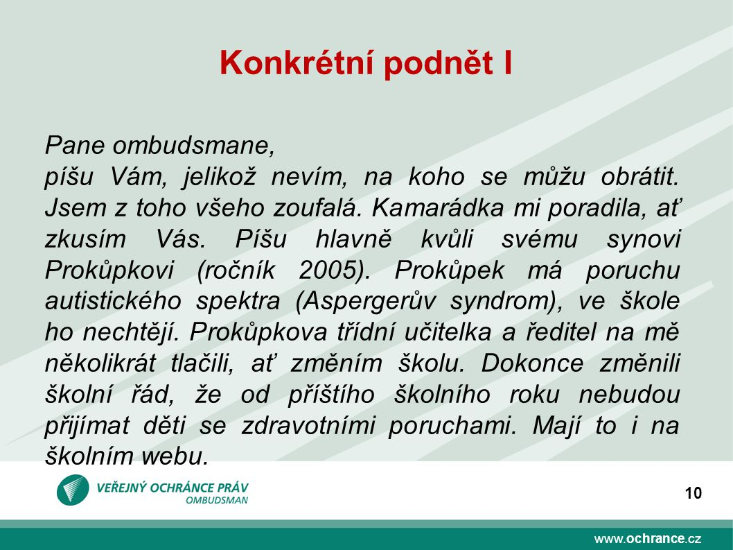 www.ochrance.cz 10 Konkrétní podnět I Pane ombudsmane, píšu Vám, jelikož nevím, na koho se můžu obrátit.