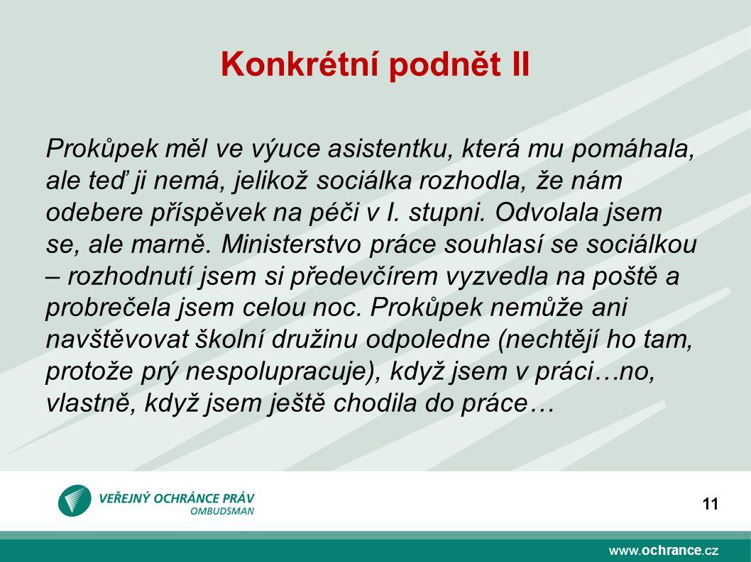 www.ochrance.cz 11 Konkrétní podnět II Prokůpek měl ve výuce asistentku, která mu pomáhala, ale teď ji nemá, jelikož sociálka rozhodla, že nám odebere příspěvek na péči v I.