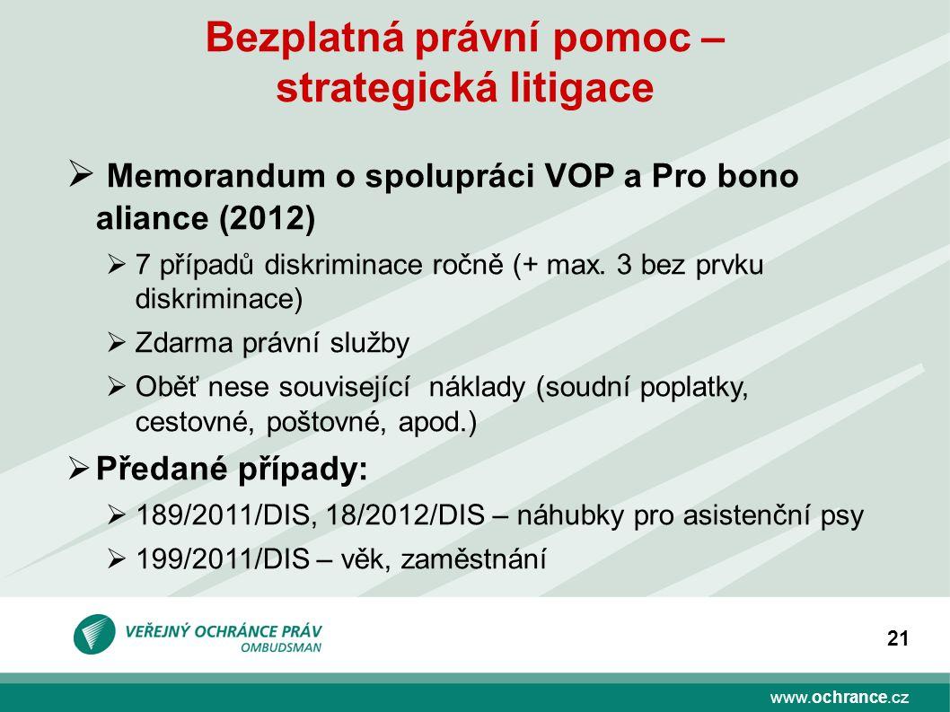 www.ochrance.cz 21 Bezplatná právní pomoc – strategická litigace  Memorandum o spolupráci VOP a Pro bono aliance (2012)  7 případů diskriminace ročně (+ max.