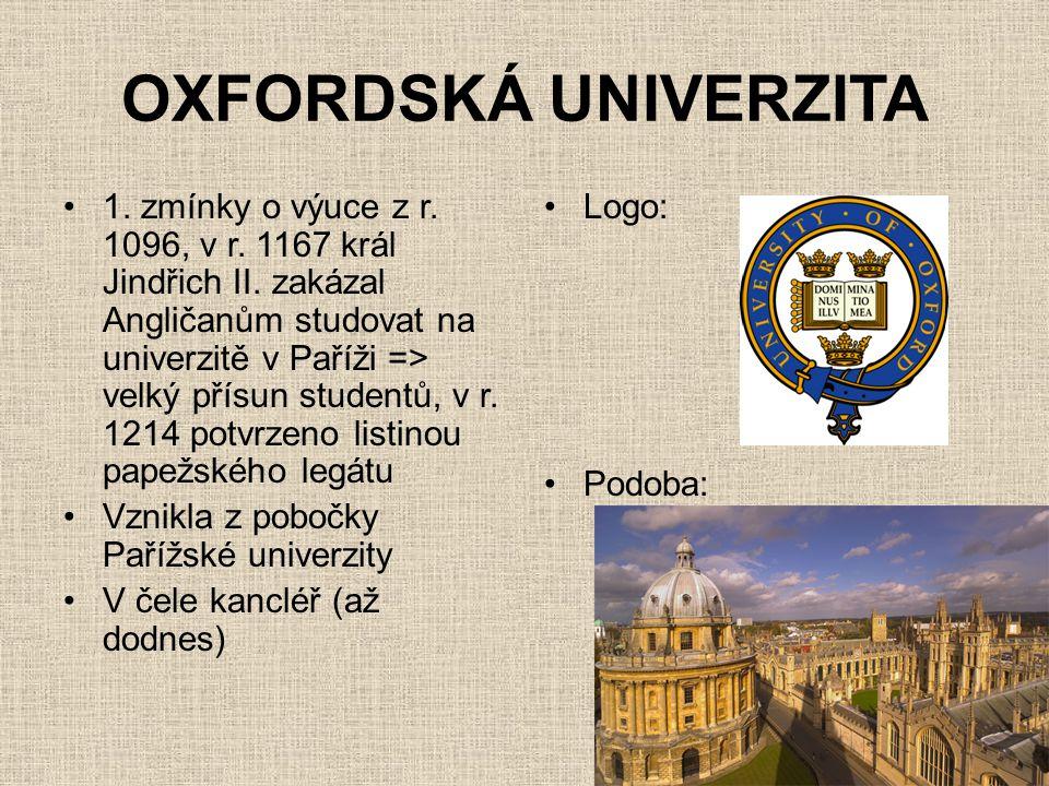 OXFORDSKÁ UNIVERZITA •1. zmínky o výuce z r. 1096, v r. 1167 král Jindřich II. zakázal Angličanům studovat na univerzitě v Paříži => velký přísun stud