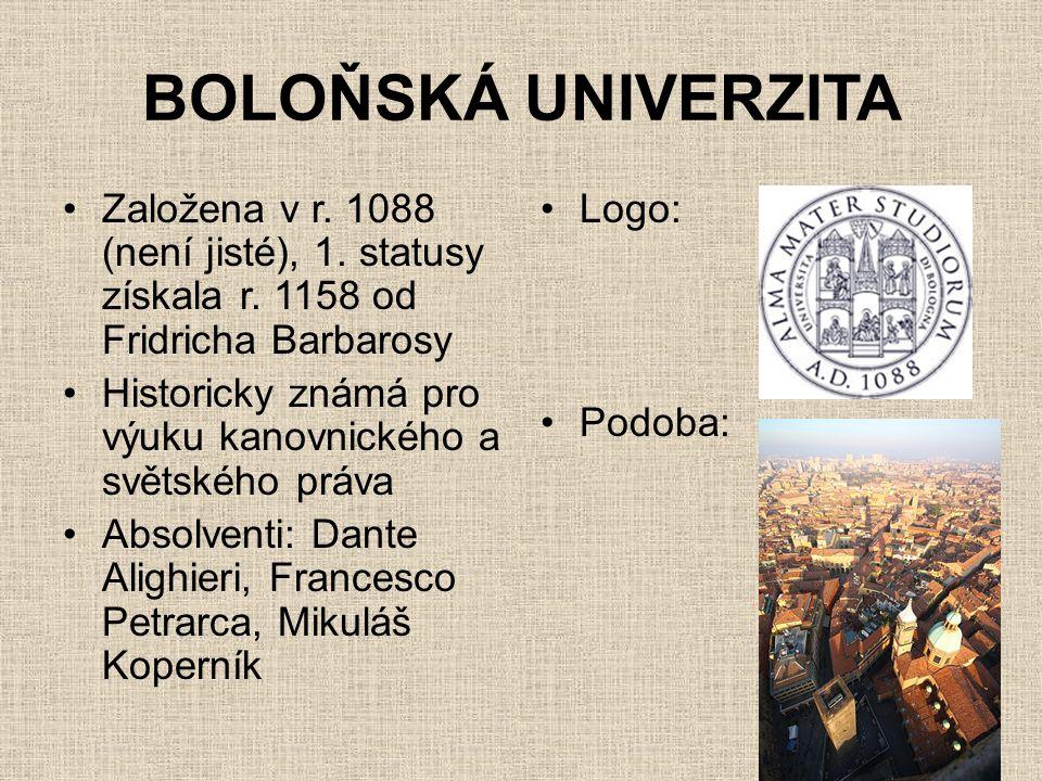 BOLOŇSKÁ UNIVERZITA •Založena v r. 1088 (není jisté), 1. statusy získala r. 1158 od Fridricha Barbarosy •Historicky známá pro výuku kanovnického a svě