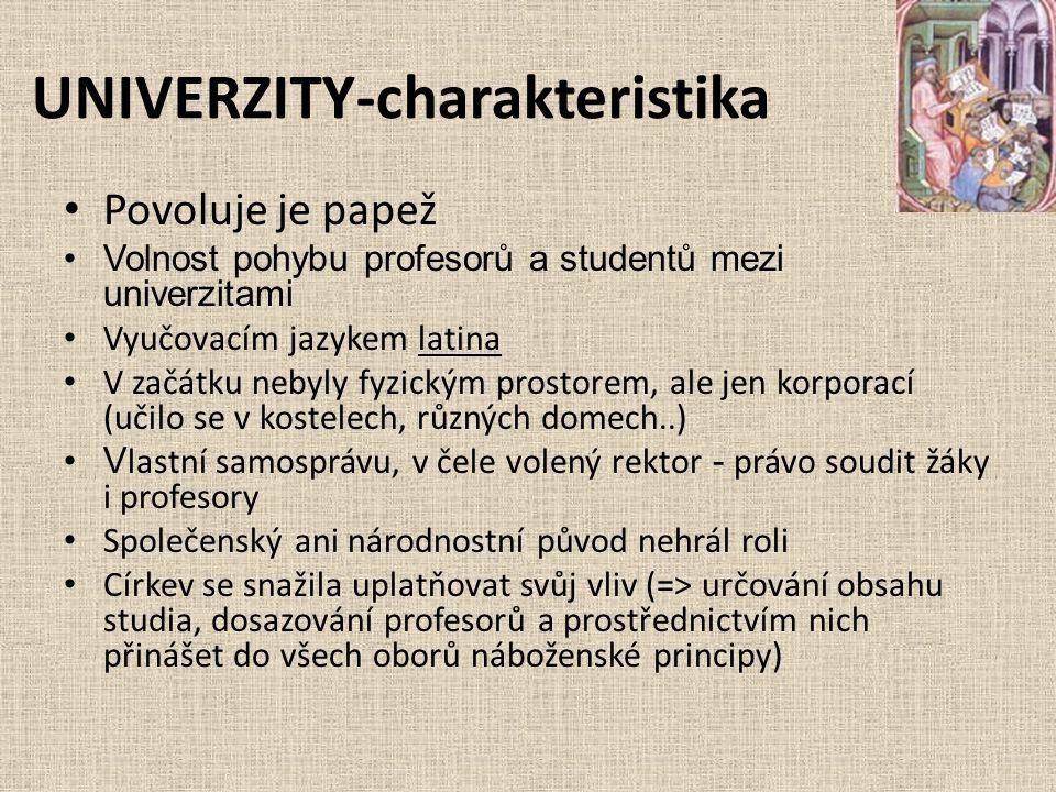 UNIVERZITY-charakteristika • Povoluje je papež •Volnost pohybu profesorů a studentů mezi univerzitami • Vyučovacím jazykem latina • V začátku nebyly f
