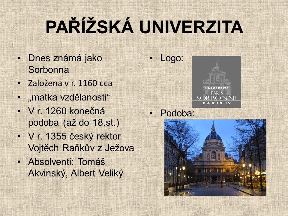 """PAŘÍŽSKÁ UNIVERZITA •Dnes známá jako Sorbonna • Založena v r. 1160 cca •""""matka vzdělanosti"""" •V r. 1260 konečná podoba (až do 18.st.) •V r. 1355 český"""