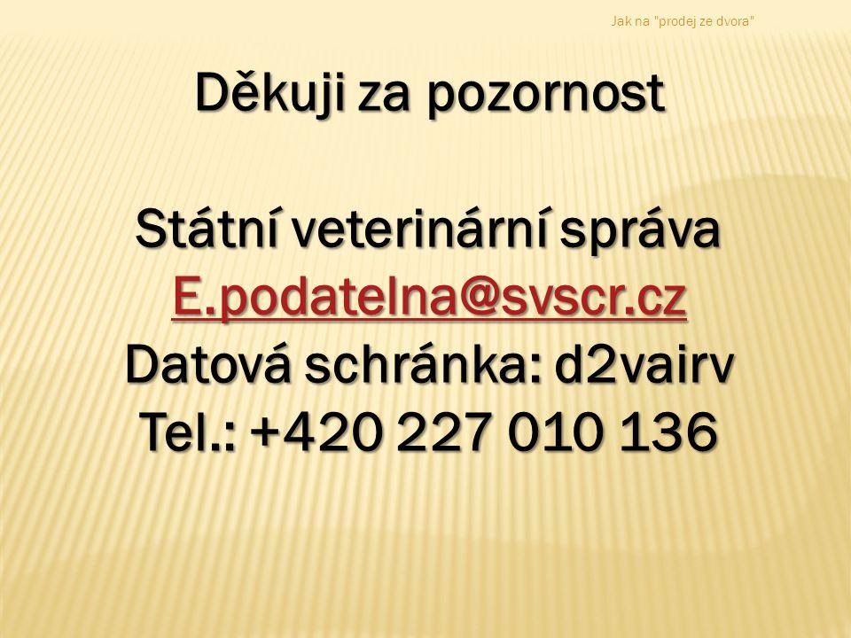 Děkuji za pozornost Státní veterinární správa E.podatelna@svscr.cz Datová schránka: d2vairv Tel.: +420 227 010 136