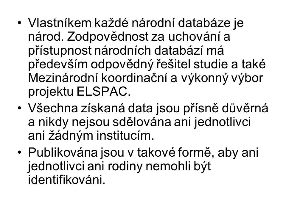 •Vlastníkem každé národní databáze je národ. Zodpovědnost za uchování a přístupnost národních databází má především odpovědný řešitel studie a také Me