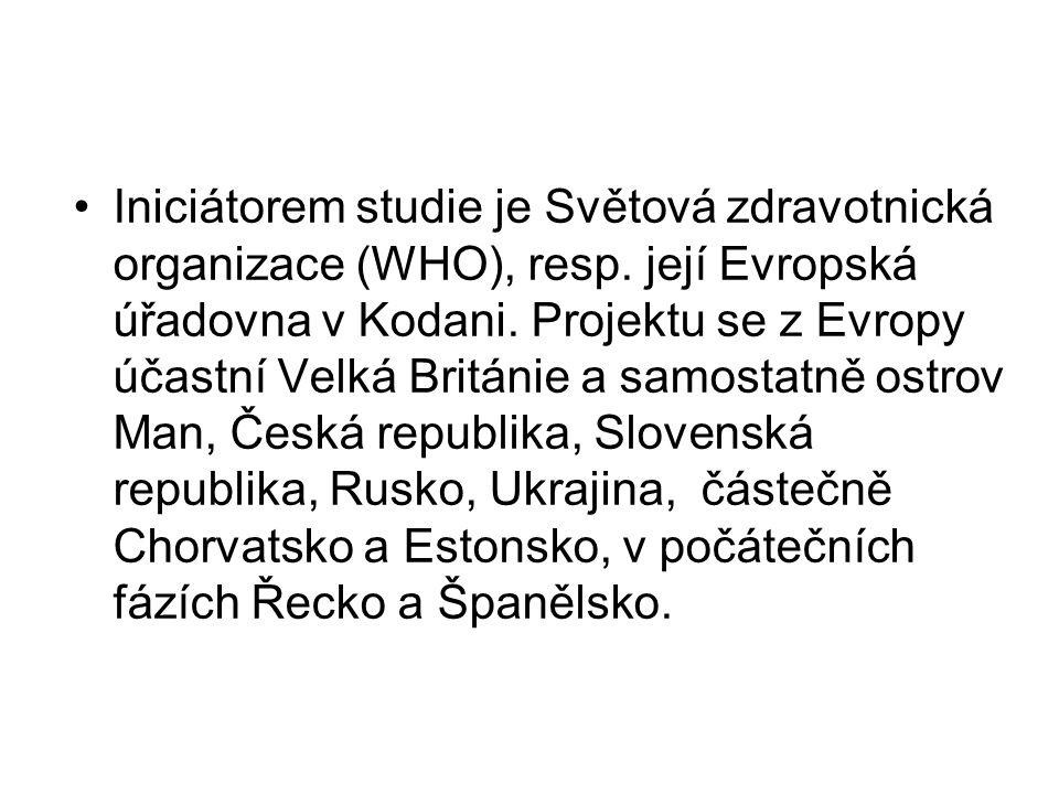 •Iniciátorem studie je Světová zdravotnická organizace (WHO), resp. její Evropská úřadovna v Kodani. Projektu se z Evropy účastní Velká Británie a sam