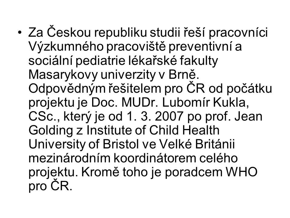 •Za Českou republiku studii řeší pracovníci Výzkumného pracoviště preventivní a sociální pediatrie lékařské fakulty Masarykovy univerzity v Brně. Odpo