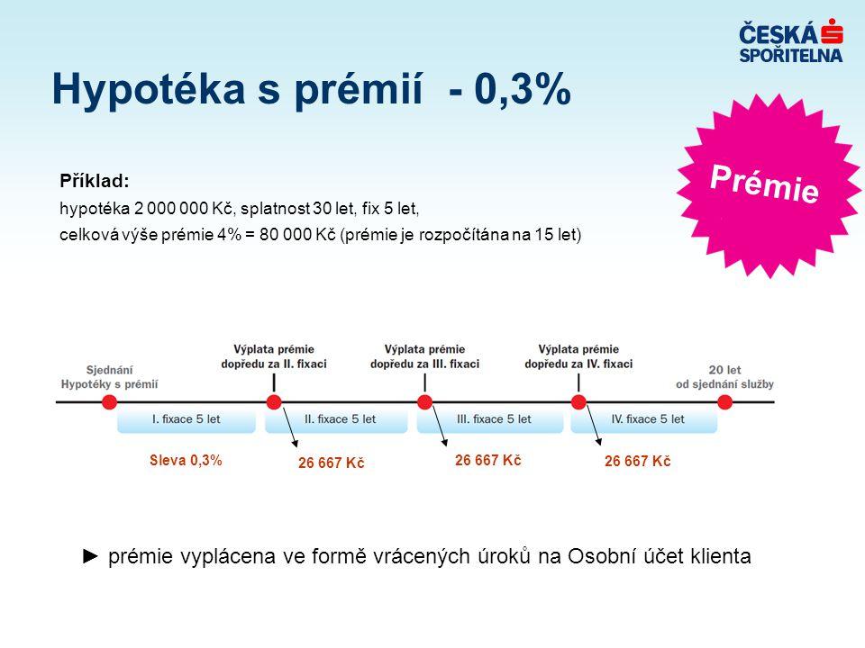 ► prémie vyplácena ve formě vrácených úroků na Osobní účet klienta Hypotéka s prémií - 0,3% Příklad: hypotéka 2 000 000 Kč, splatnost 30 let, fix 5 le