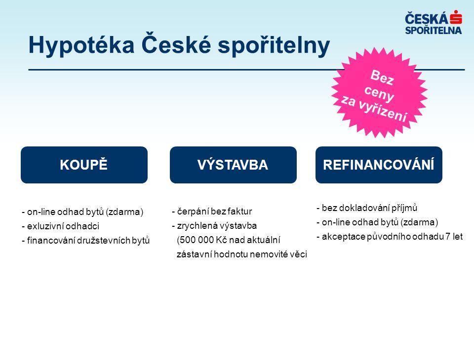 Hypotéka České spořitelny Bez ceny za vyřízení KOUPĚ VÝSTAVBAREFINANCOVÁNÍ - on-line odhad bytů (zdarma) - exluzivní odhadci - financování družstevních bytů - čerpání bez faktur - zrychlená výstavba (500 000 Kč nad aktuální zástavní hodnotu nemovité věci - bez dokladování příjmů - on-line odhad bytů (zdarma) - akceptace původního odhadu 7 let