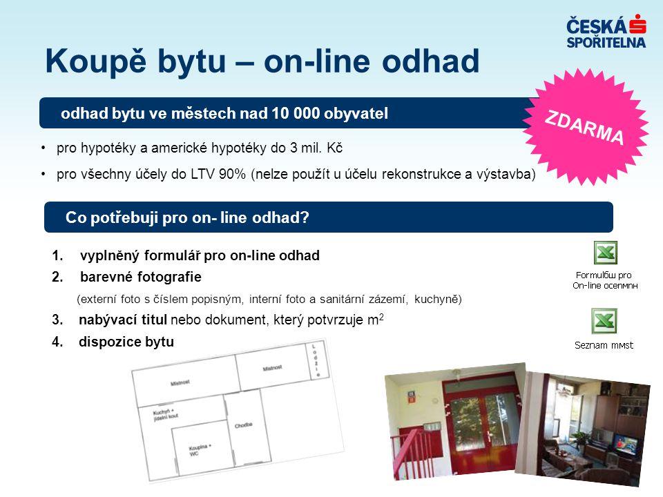 Koupě bytu – on-line odhad 1. vyplněný formulář pro on-line odhad 2. barevné fotografie (externí foto s číslem popisným, interní foto a sanitární záze