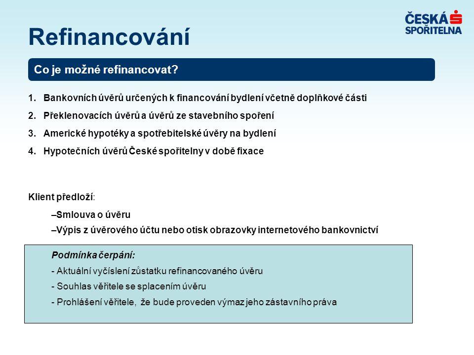 1. Bankovních úvěrů určených k financování bydlení včetně doplňkové části 2. Překlenovacích úvěrů a úvěrů ze stavebního spoření 3. Americké hypotéky a