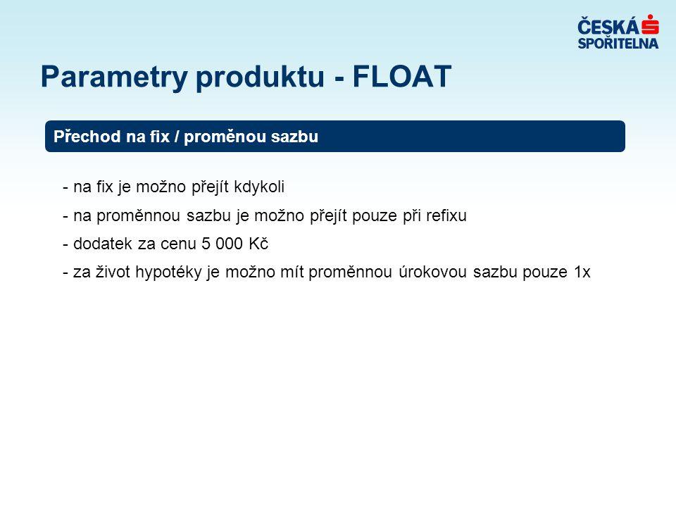 Parametry produktu - FLOAT - na fix je možno přejít kdykoli - na proměnnou sazbu je možno přejít pouze při refixu - dodatek za cenu 5 000 Kč - za život hypotéky je možno mít proměnnou úrokovou sazbu pouze 1x Přechod na fix / proměnou sazbu