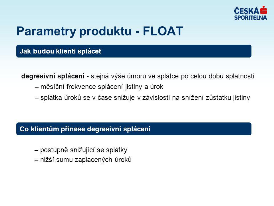 Parametry produktu - FLOAT degresivní splácení - stejná výše úmoru ve splátce po celou dobu splatnosti – měsíční frekvence splácení jistiny a úrok – s