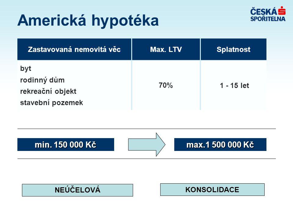 Americká hypotéka max.1 500 000 Kč min.150 000 Kč Zastavovaná nemovitá věcMax.