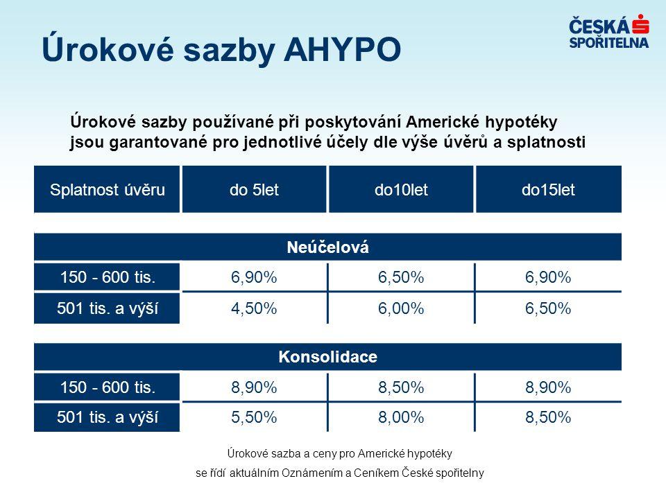 Úrokové sazby AHYPO Úrokové sazby používané při poskytování Americké hypotéky jsou garantované pro jednotlivé účely dle výše úvěrů a splatnosti Splatnost úvěrudo 5letdo10letdo15let Neúčelová 150 - 600 tis.6,90%6,50%6,90% 501 tis.