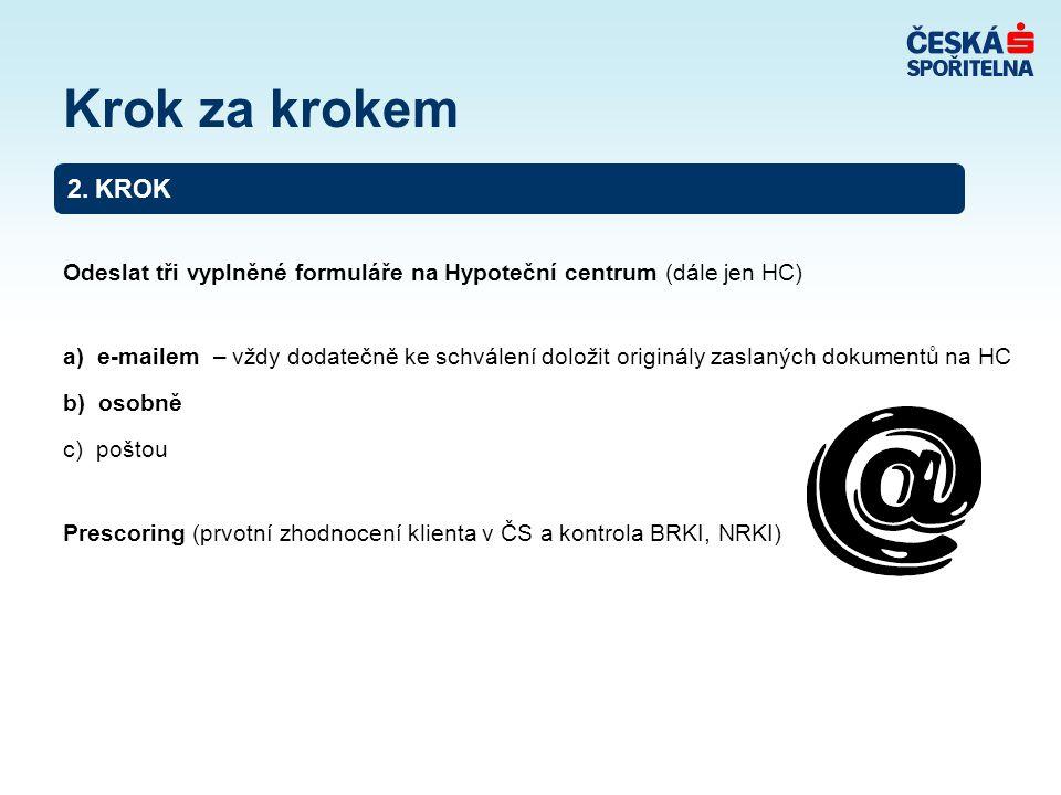 Odeslat tři vyplněné formuláře na Hypoteční centrum (dále jen HC) a) e-mailem – vždy dodatečně ke schválení doložit originály zaslaných dokumentů na HC b) osobně c) poštou Prescoring (prvotní zhodnocení klienta v ČS a kontrola BRKI, NRKI) 2.