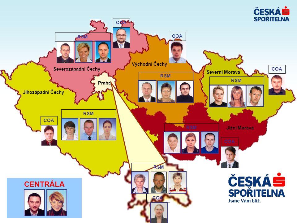 CENTRÁLA Severozápadní Čechy Jižní Morava Praha Jihozápadní Čechy Severní Morava Východní Čechy RSM COA RSM