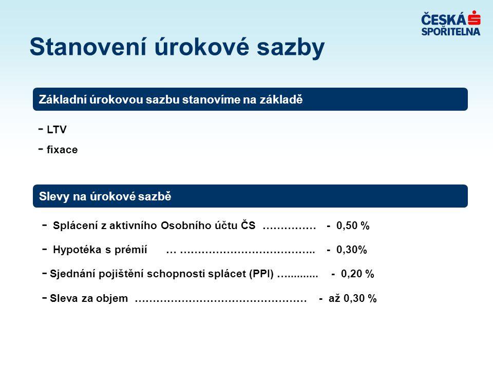 - Splácení z aktivního Osobního účtu ČS …………… - 0,50 % - Hypotéka s prémií … ……………………………….. - 0,30% - Sjednání pojištění schopnosti splácet (PPI) …...