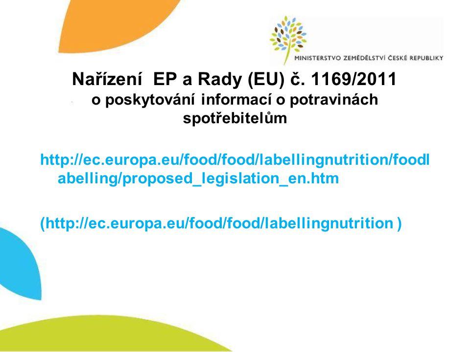 Nařízení EP a Rady (EU) č. 1169/2011 o poskytování informací o potravinách spotřebitelům http://ec.europa.eu/food/food/labellingnutrition/foodl abelli