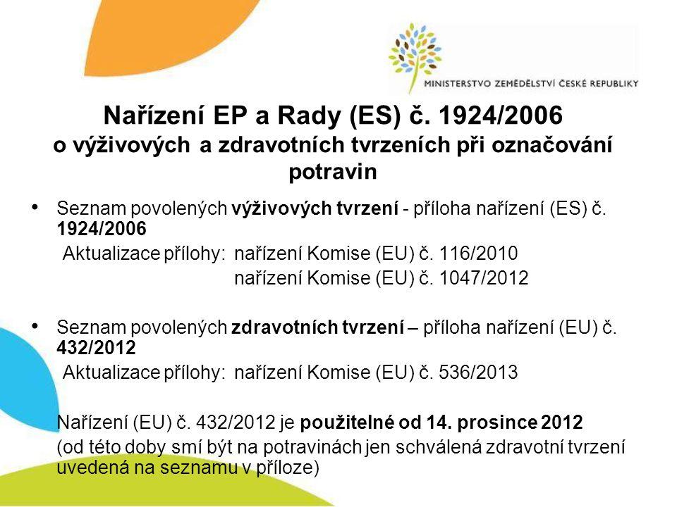 Nařízení EP a Rady (ES) č. 1924/2006 o výživových a zdravotních tvrzeních při označování potravin • Seznam povolených výživových tvrzení - příloha nař