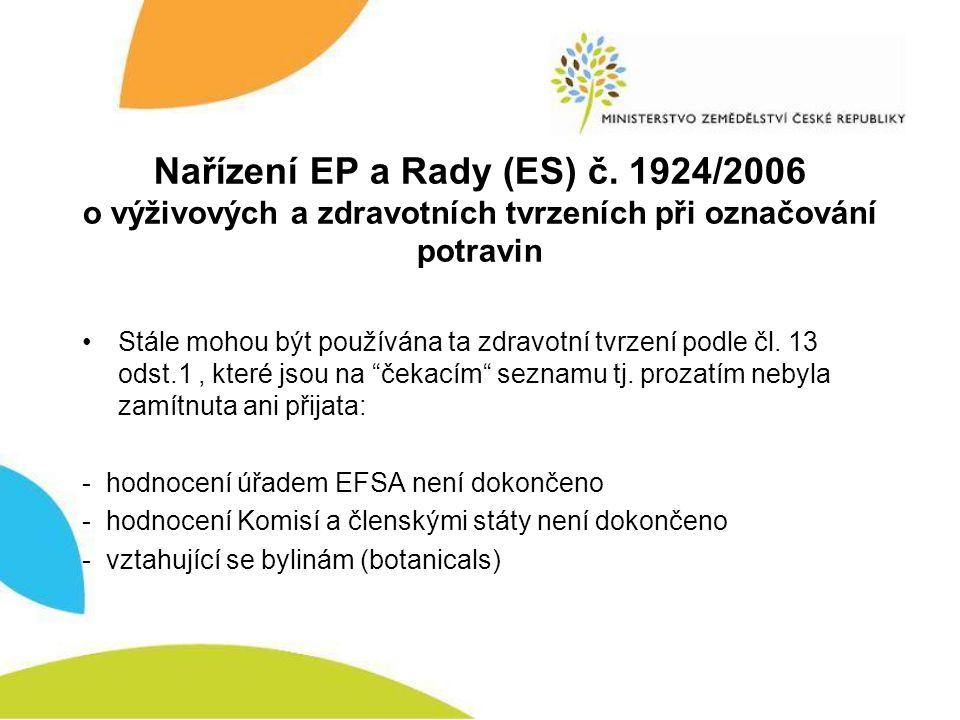 Nařízení EP a Rady (ES) č. 1924/2006 o výživových a zdravotních tvrzeních při označování potravin •Stále mohou být používána ta zdravotní tvrzení podl