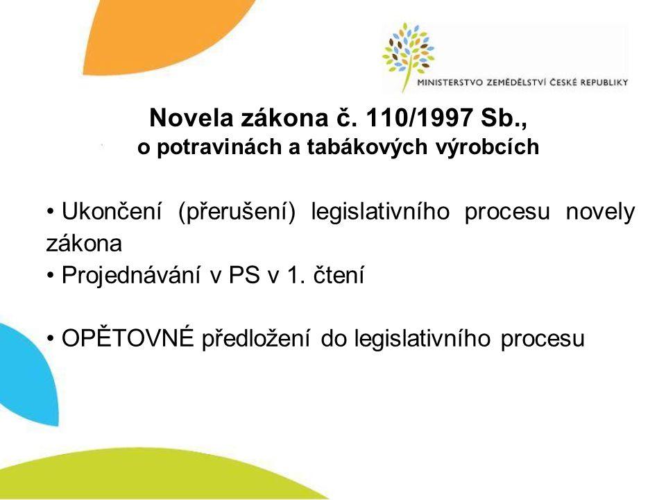 Novela zákona č. 110/1997 Sb., o potravinách a tabákových výrobcích • Ukončení (přerušení) legislativního procesu novely zákona • Projednávání v PS v