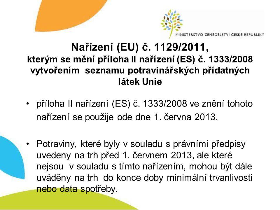 Nařízení (EU) č. 1129/2011, kterým se mění příloha II nařízení (ES) č. 1333/2008 vytvořením seznamu potravinářských přídatných látek Unie •příloha II