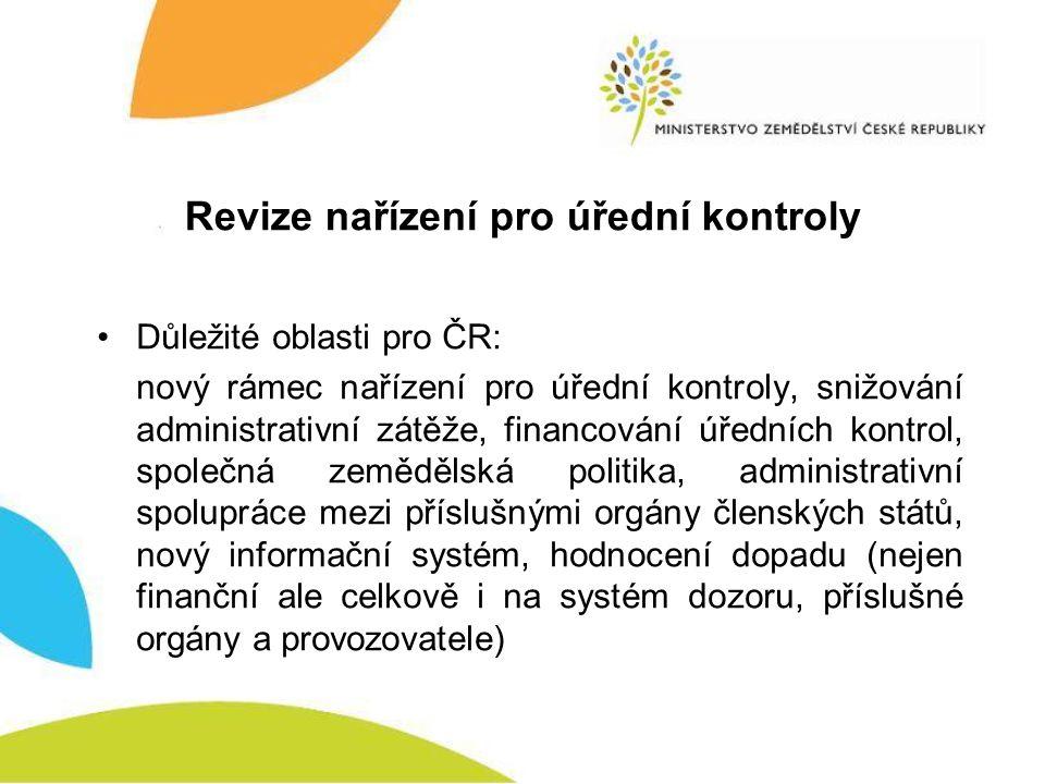 Revize nařízení pro úřední kontroly •Důležité oblasti pro ČR: nový rámec nařízení pro úřední kontroly, snižování administrativní zátěže, financování ú
