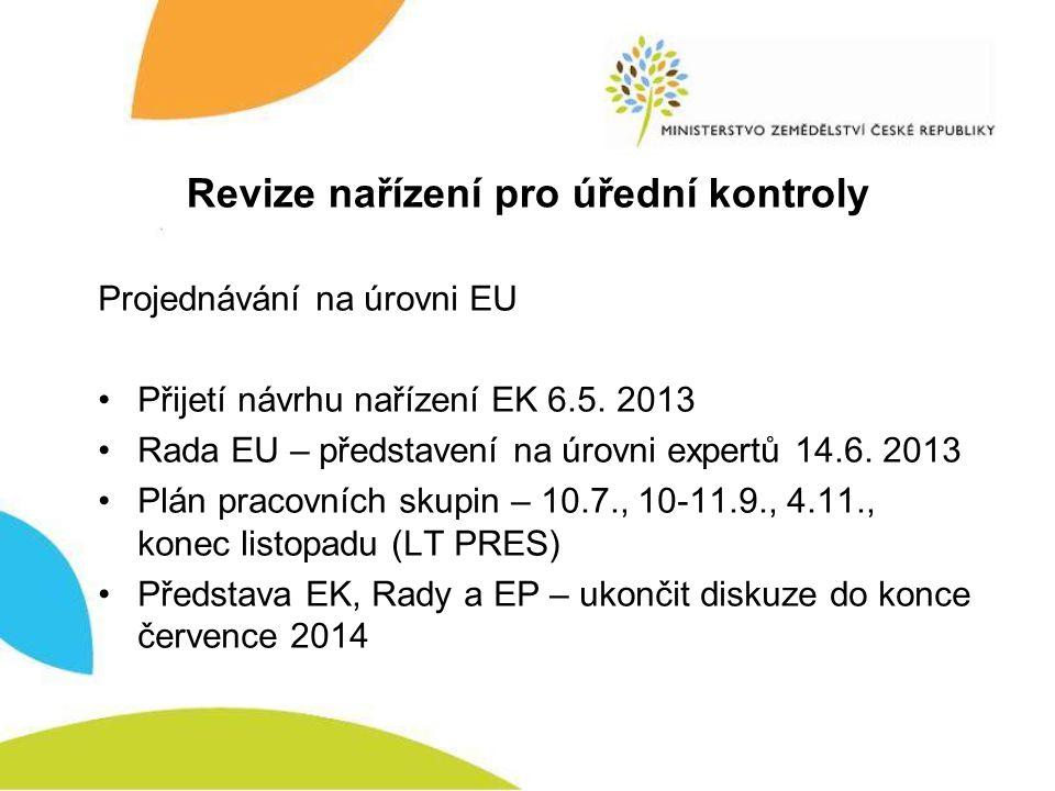 Revize nařízení pro úřední kontroly Projednávání na úrovni EU •Přijetí návrhu nařízení EK 6.5. 2013 •Rada EU – představení na úrovni expertů 14.6. 201