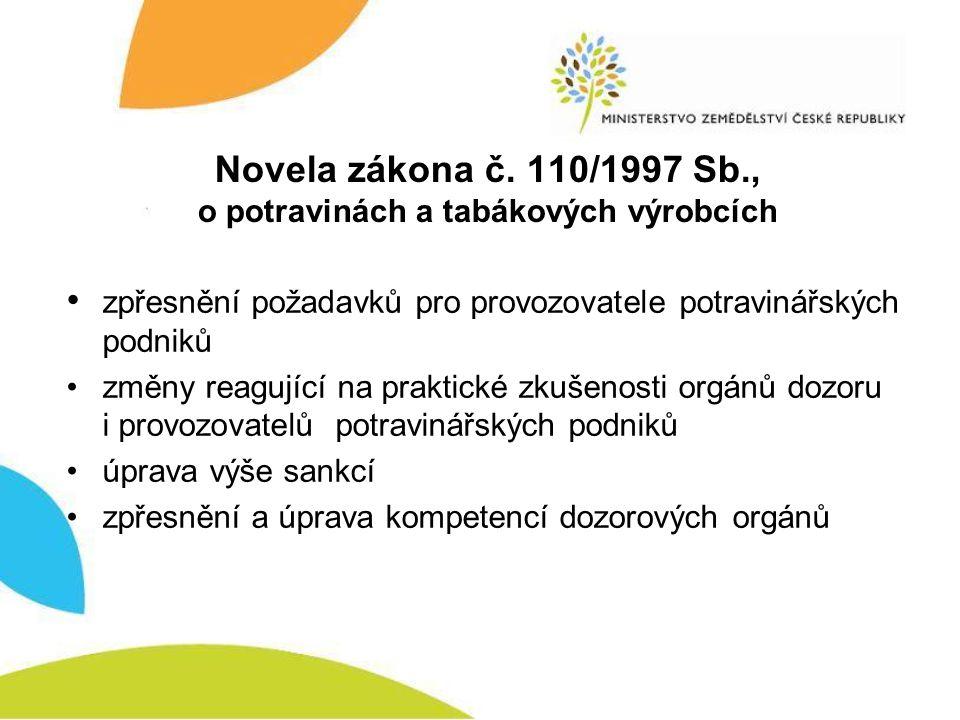 Novela zákona č. 110/1997 Sb., o potravinách a tabákových výrobcích • zpřesnění požadavků pro provozovatele potravinářských podniků •změny reagující n