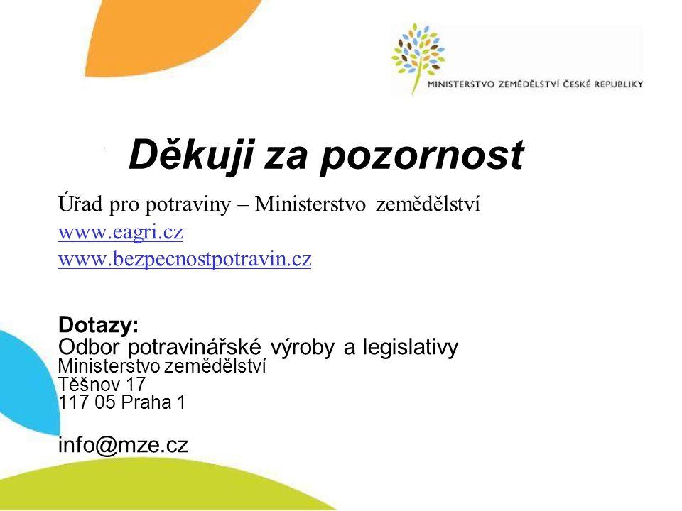 Děkuji za pozornost Úřad pro potraviny – Ministerstvo zemědělství www.eagri.cz www.bezpecnostpotravin.cz Dotazy: Odbor potravinářské výroby a legislat