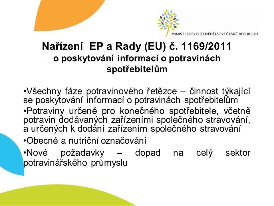 Nařízení EP a Rady (EU) č. 1169/2011 o poskytování informací o potravinách spotřebitelům •Všechny fáze potravinového řetězce – činnost týkající se pos