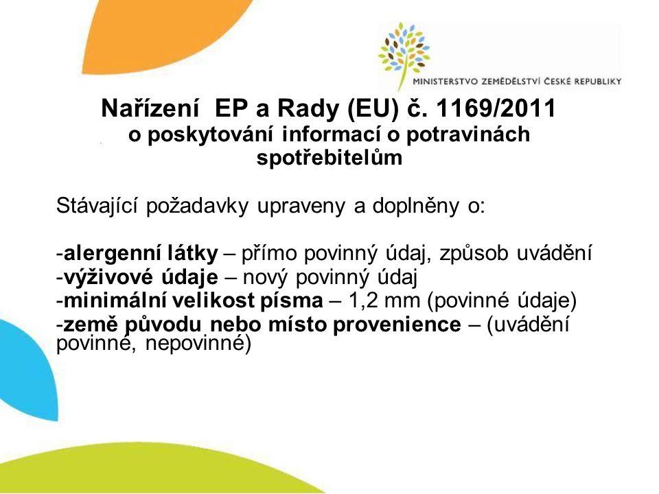 Nařízení EP a Rady (EU) č. 1169/2011 o poskytování informací o potravinách spotřebitelům Stávající požadavky upraveny a doplněny o: -alergenní látky –