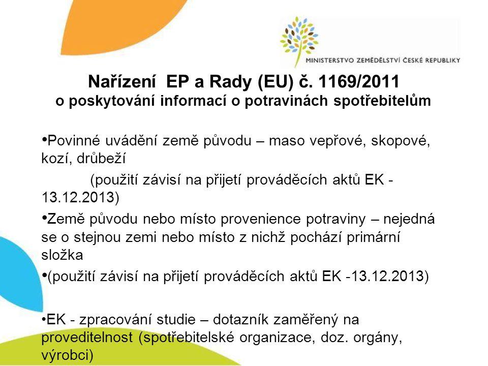 Nařízení EP a Rady (EU) č. 1169/2011 o poskytování informací o potravinách spotřebitelům • Povinné uvádění země původu – maso vepřové, skopové, kozí,
