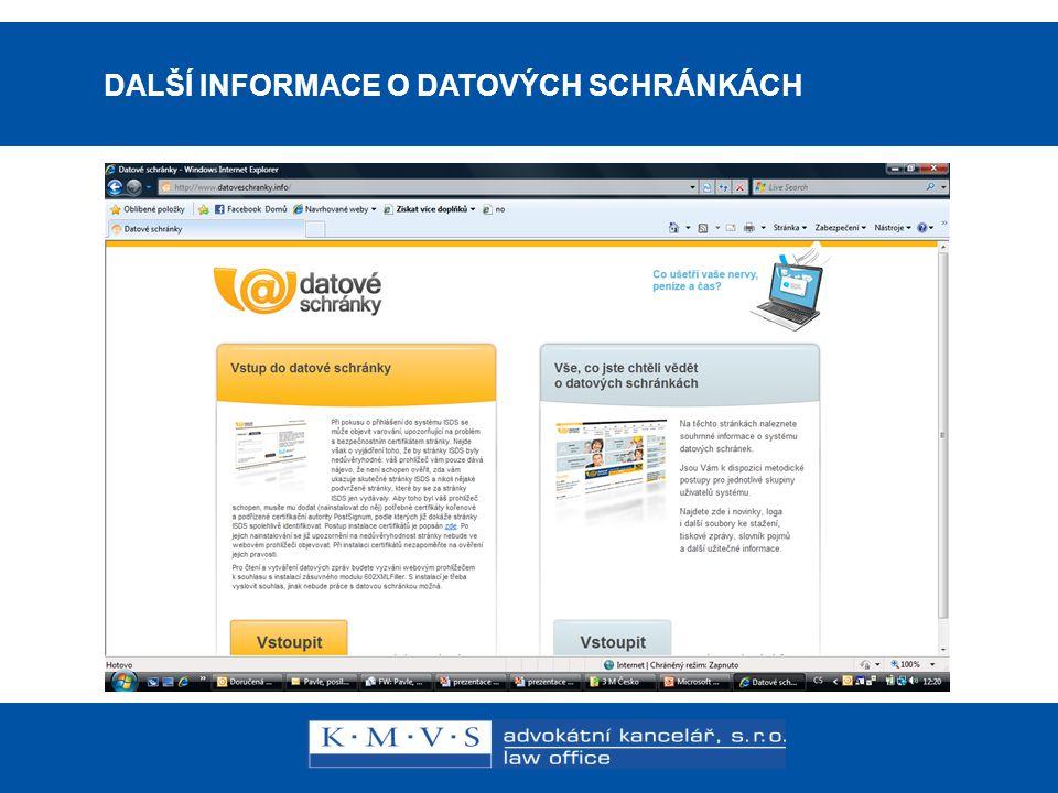 15.11.200726.dubna 2007 DALŠÍ INFORMACE O DATOVÝCH SCHRÁNKÁCH