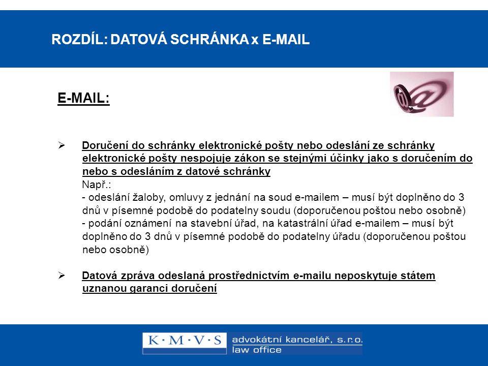 15.11.200726.dubna 2007 ROZDÍL: DATOVÁ SCHRÁNKA x E-MAIL E-MAIL:  Doručení do schránky elektronické pošty nebo odeslání ze schránky elektronické pošt