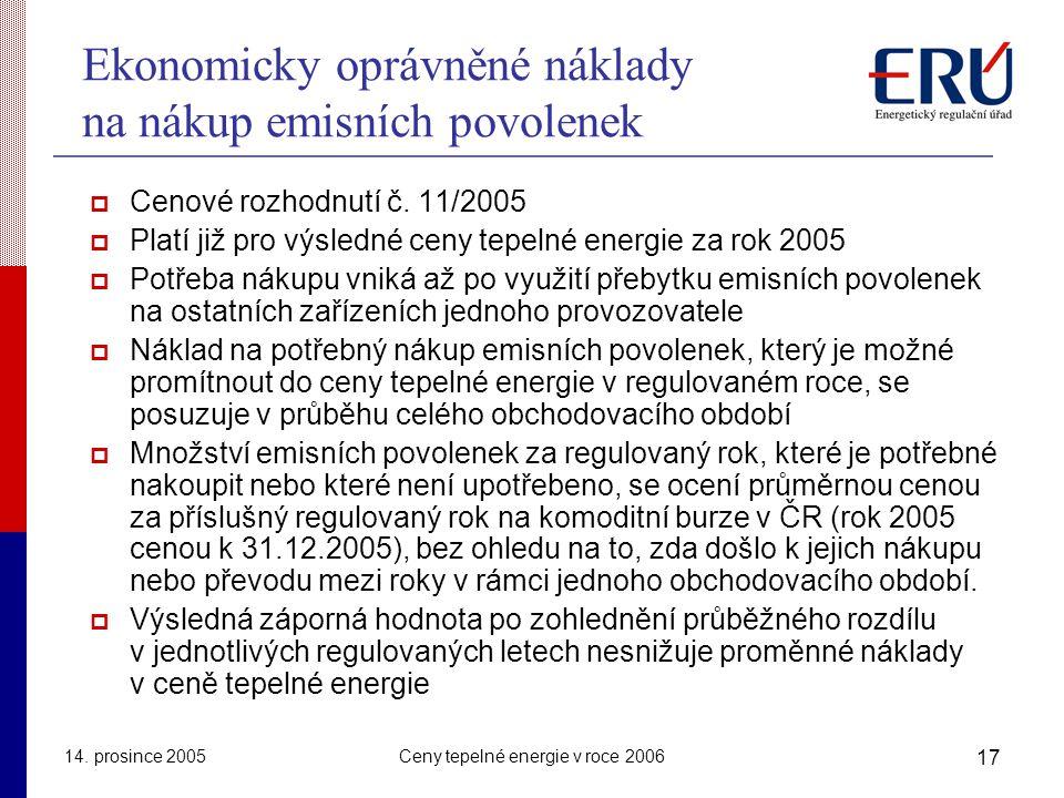 14. prosince 2005Ceny tepelné energie v roce 2006 17 Ekonomicky oprávněné náklady na nákup emisních povolenek  Cenové rozhodnutí č. 11/2005  Platí j