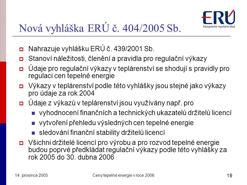 14.prosince 2005Ceny tepelné energie v roce 2006 19 Nová vyhláška ERÚ č.