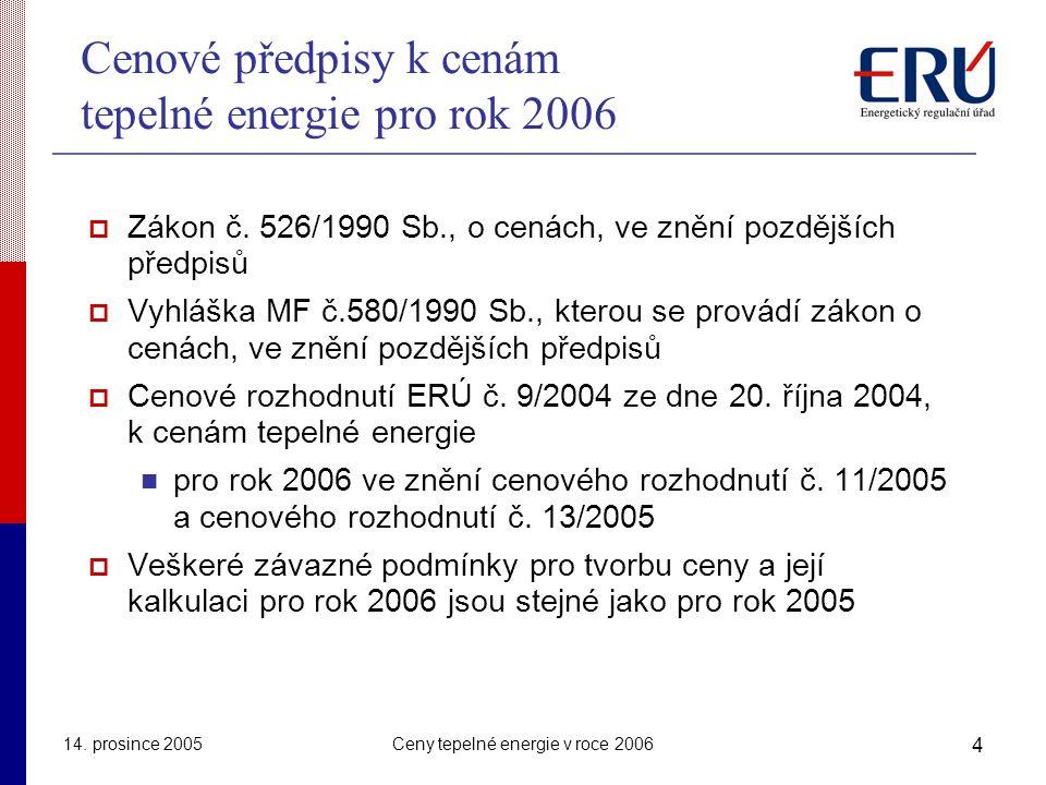14. prosince 2005Ceny tepelné energie v roce 2006 4 Cenové předpisy k cenám tepelné energie pro rok 2006  Zákon č. 526/1990 Sb., o cenách, ve znění p