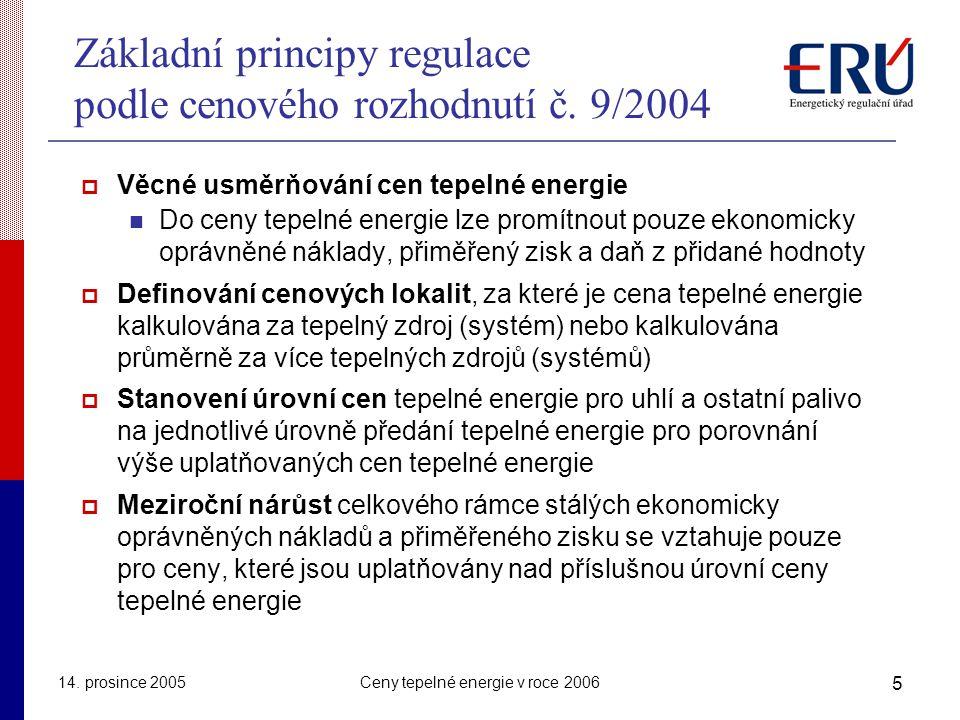 14. prosince 2005Ceny tepelné energie v roce 2006 5 Základní principy regulace podle cenového rozhodnutí č. 9/2004  Věcné usměrňování cen tepelné ene