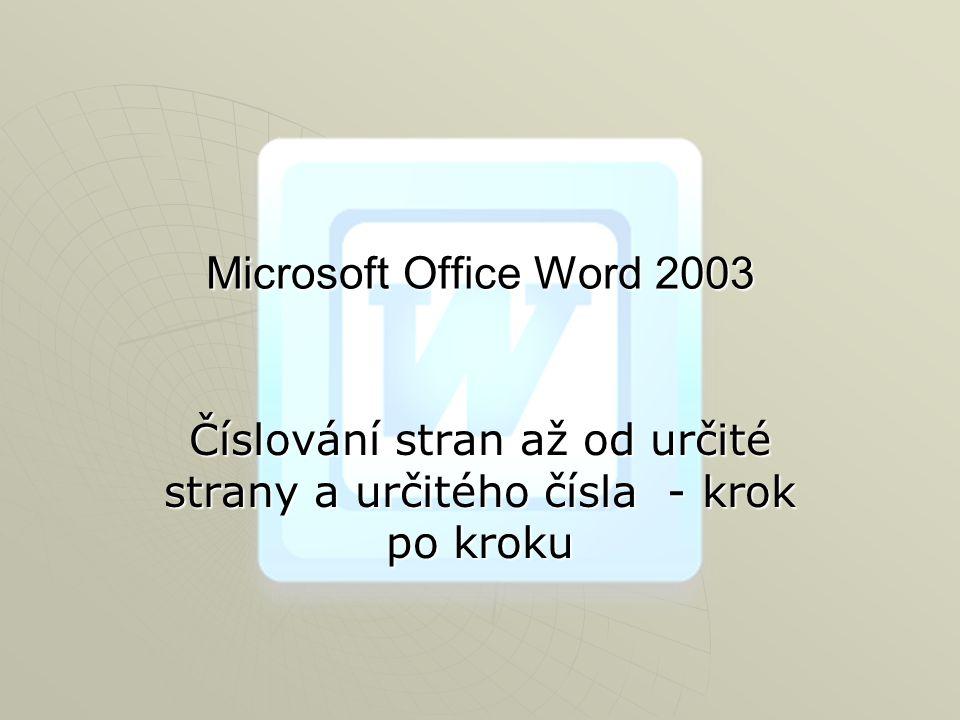 Microsoft Office Word 2003 Číslování stran až od určité strany a určitého čísla - krok po kroku