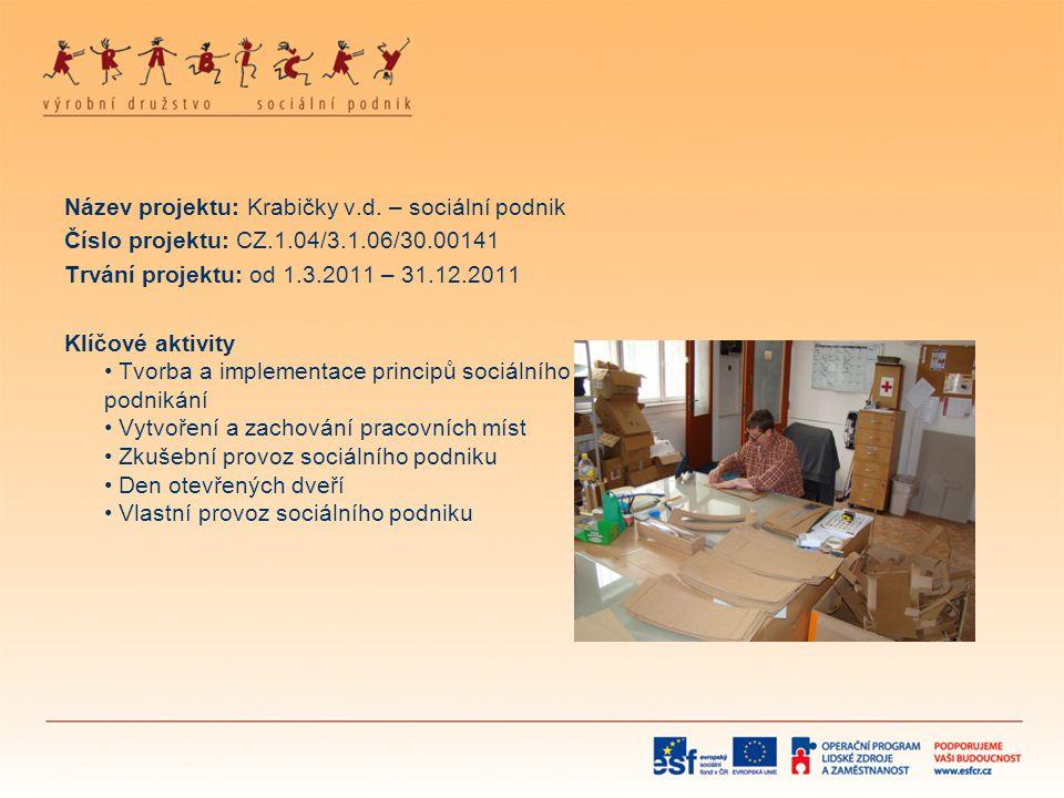 Název projektu: Krabičky v.d. – sociální podnik Číslo projektu: CZ.1.04/3.1.06/30.00141 Trvání projektu: od 1.3.2011 – 31.12.2011 Klíčové aktivity • T