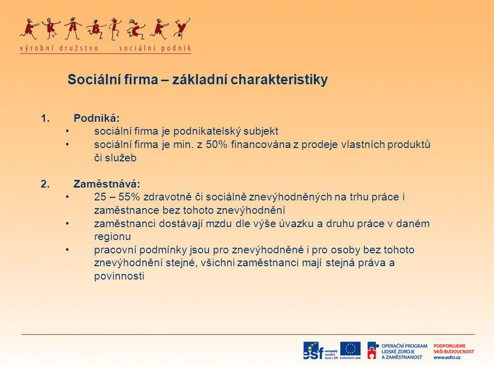Sociální firma – základní charakteristiky 1.Podniká: •sociální firma je podnikatelský subjekt •sociální firma je min. z 50% financována z prodeje vlas