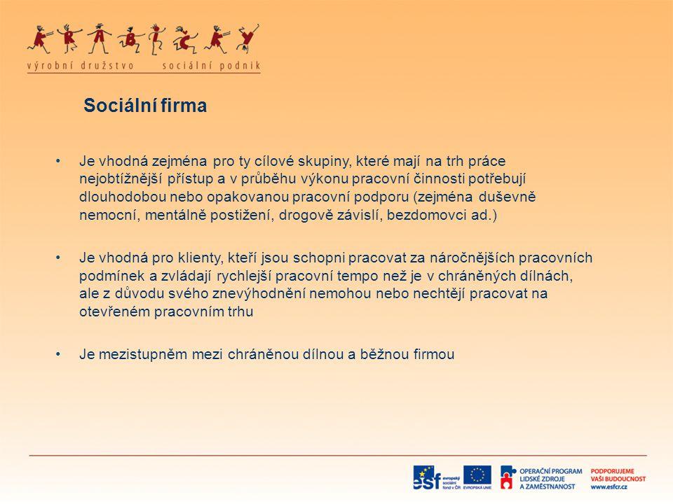 Sociální firma •Je vhodná zejména pro ty cílové skupiny, které mají na trh práce nejobtížnější přístup a v průběhu výkonu pracovní činnosti potřebují