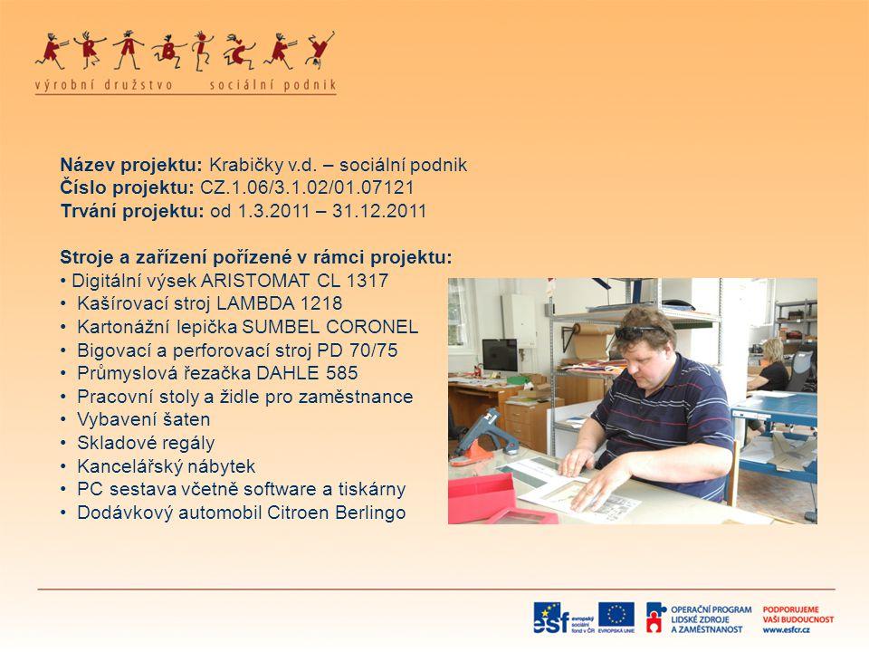 Název projektu: Krabičky v.d. – sociální podnik Číslo projektu: CZ.1.06/3.1.02/01.07121 Trvání projektu: od 1.3.2011 – 31.12.2011 Stroje a zařízení po