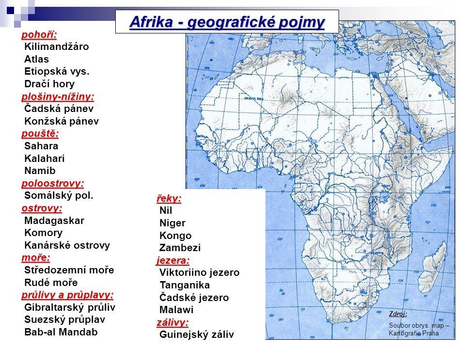Opakování  Které oceány obklopují Afriku.