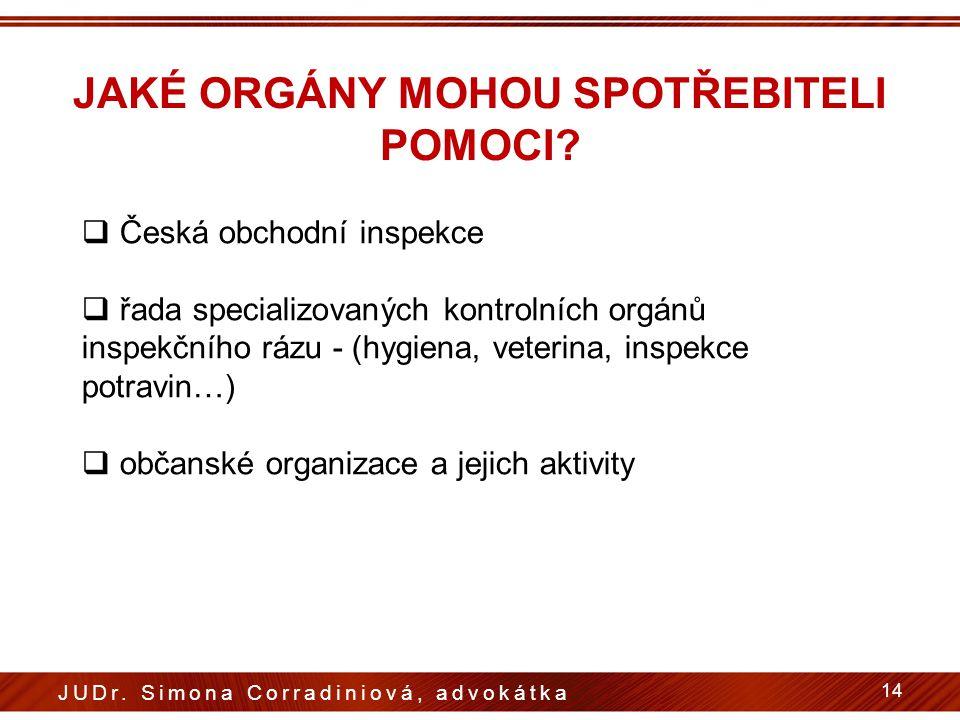 JAKÉ ORGÁNY MOHOU SPOTŘEBITELI POMOCI?  Česká obchodní inspekce  řada specializovaných kontrolních orgánů inspekčního rázu - (hygiena, veterina, ins