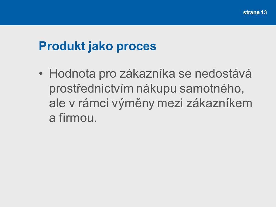 Produkt jako proces •Hodnota pro zákazníka se nedostává prostřednictvím nákupu samotného, ale v rámci výměny mezi zákazníkem a firmou. strana 13