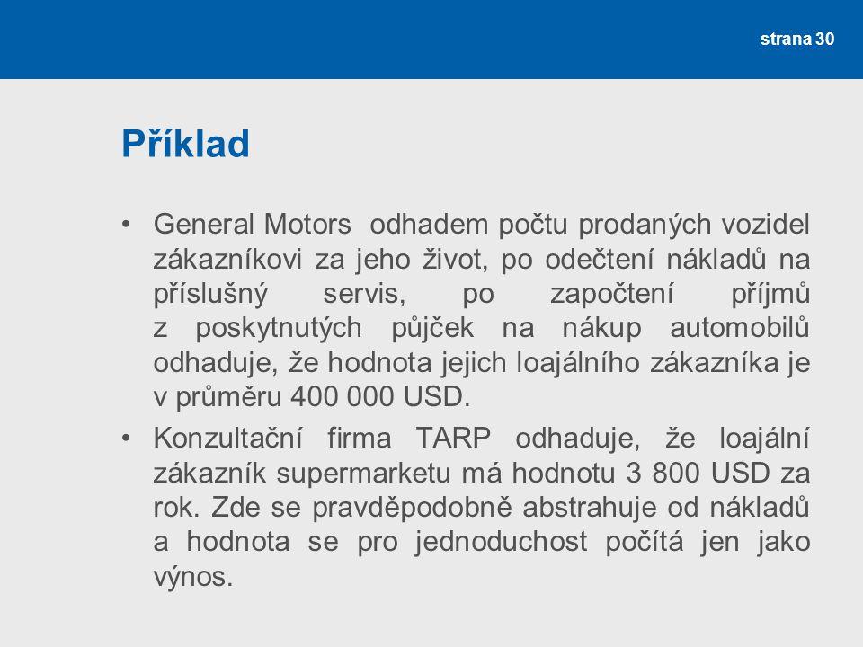 Příklad •General Motors odhadem počtu prodaných vozidel zákazníkovi za jeho život, po odečtení nákladů na příslušný servis, po započtení příjmů z poskytnutých půjček na nákup automobilů odhaduje, že hodnota jejich loajálního zákazníka je v průměru 400 000 USD.
